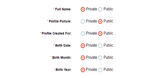 privacy settings on GoodRishta